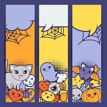 Halloween kawaii vertical banners with cute doodles  Vector
