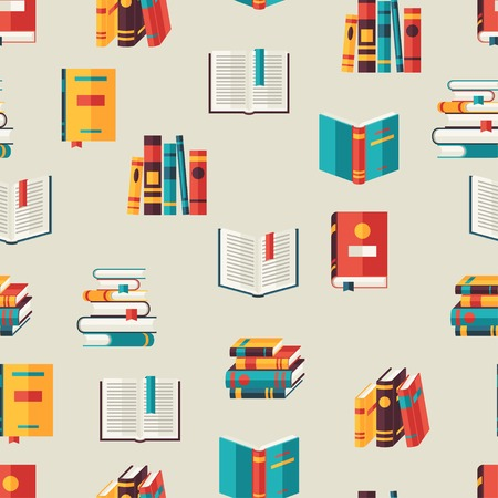 Seamless pattern with books in flat design style