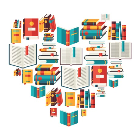 Education background with books in flat design style  Stock Illustratie