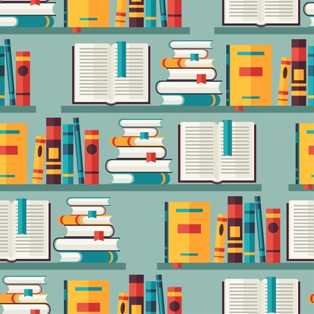 books on shelf: Seamless pattern with books on bookshelves in flat design style