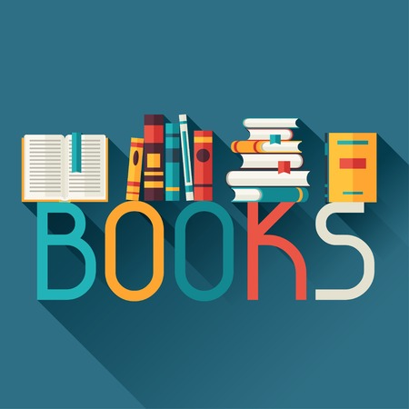 Education background with books in flat design style  Ilustrace