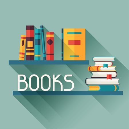 Card with books on bookshelves in flat design style