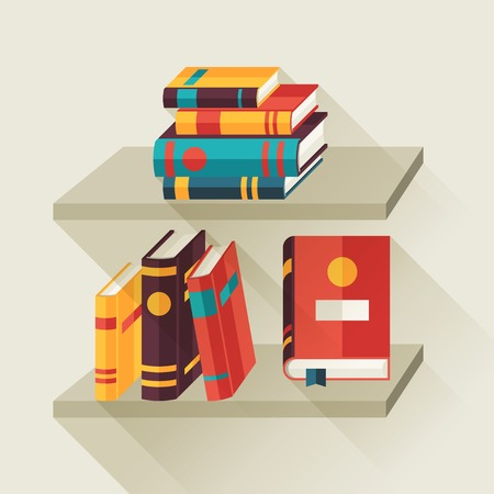 books on shelf: Card with books on bookshelves in flat design style