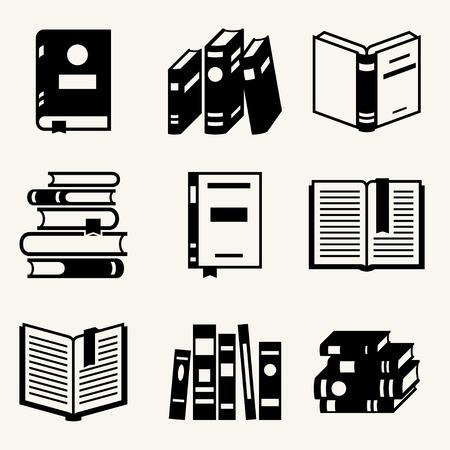평면 디자인 스타일 책 아이콘의 집합