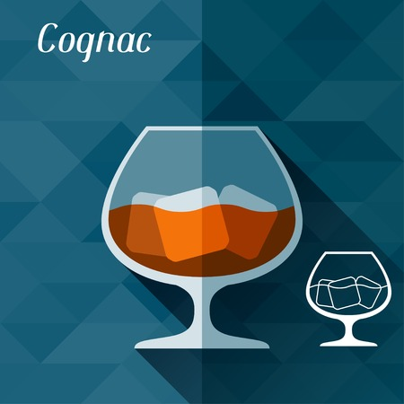 cognac: Illustration with glass of cognac in flat design style  Illustration