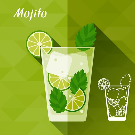 mint leaves: Illustration with glass of mojito in flat design style