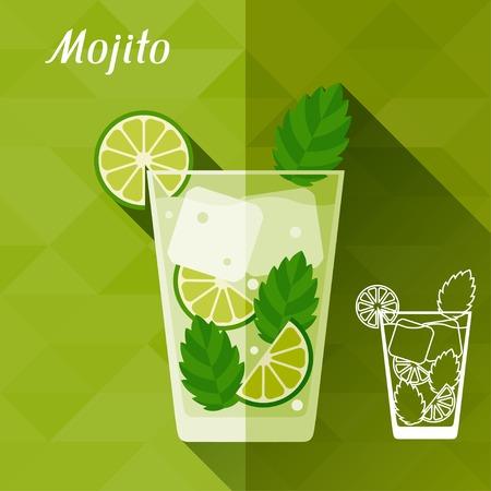 mojito: Illustration with glass of mojito in flat design style