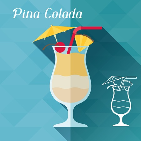 Illustration with glass of pina colada in flat design style