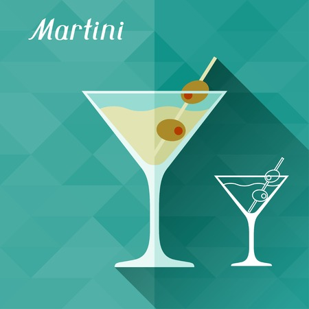 Illustration with glass of martini in flat design style  Illustration