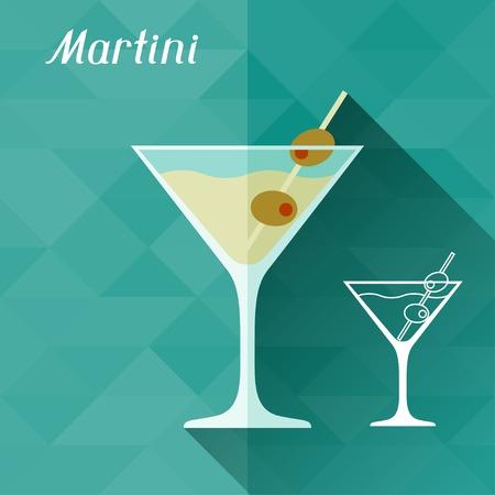 copa martini: Ilustración con un vaso de martini en estilo diseño plano