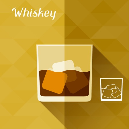 bourbon whisky: Illustration with glass of whiskey in flat design style