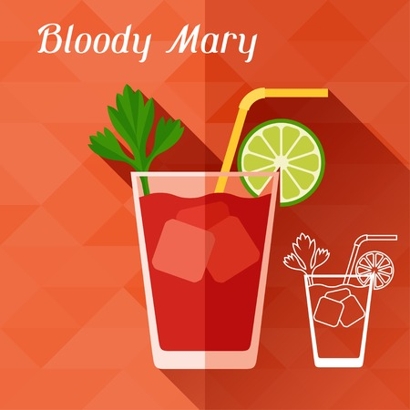 bloody mary: Illustration with glass of bloody mary in flat design style