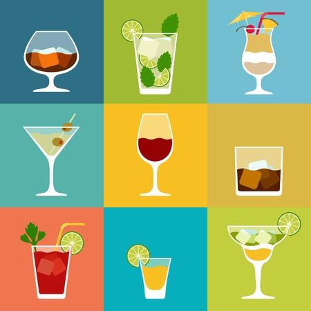 tomando alcohol: Alcohol bebidas y cócteles conjunto de iconos en el estilo de diseño plano