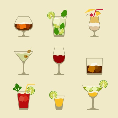 bloody mary cocktail: Alcohol drinks and cocktails icon set in flat design style