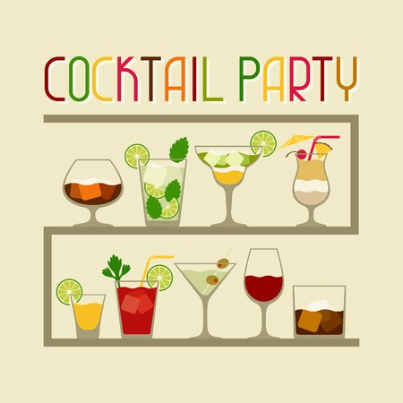 margarita drink: Party invitation with alcohol drinks and cocktails