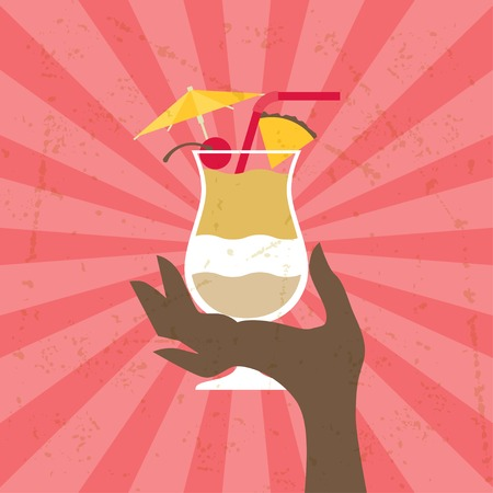Illustration with glass of pina colada and hand