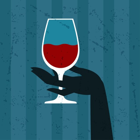 femine: Illustration with glass of wine and hand