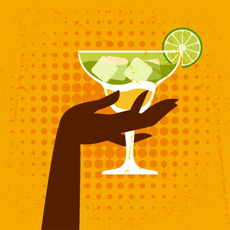 Illustration with glass of margarita and hand  Vector