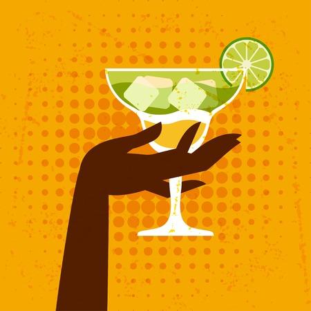 coctel margarita: Ilustración con un vaso de margarita y de la mano