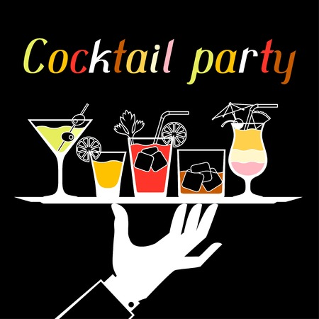cocktail drinks: Party invitation with alcohol drinks and cocktails