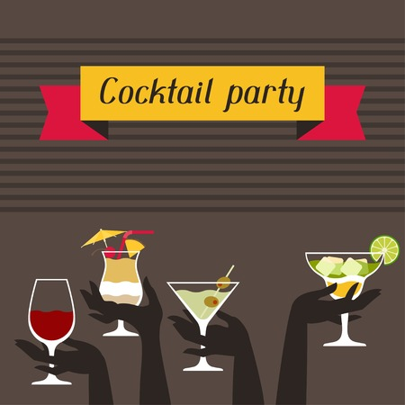 party drinks: Party invitation with alcohol drinks and cocktails