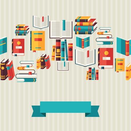 フラットなデザイン スタイルの本とのシームレスなパターン