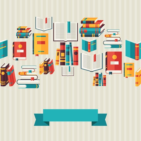 books library: Seamless pattern with books in flat design style