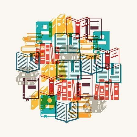 Education background with books in flat design style  Illusztráció