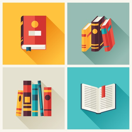 story: Set of book icons in flat design style