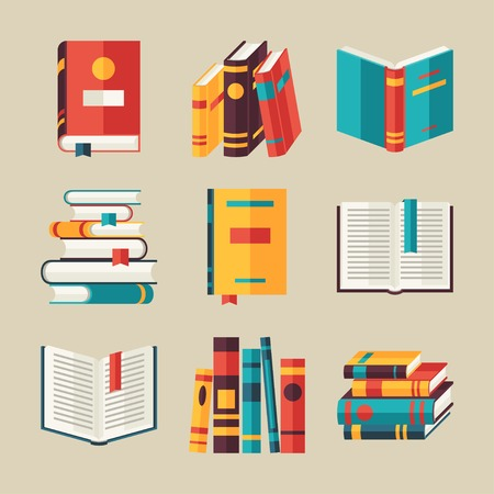 Set of book icons in flat design style