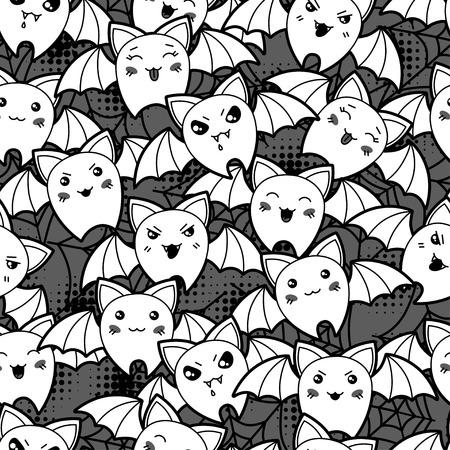 Seamless halloween kawaii cartoon pattern with cute bats  Vector