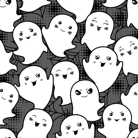 Seamless halloween kawaii cartoon pattern with cute ghosts  Vector
