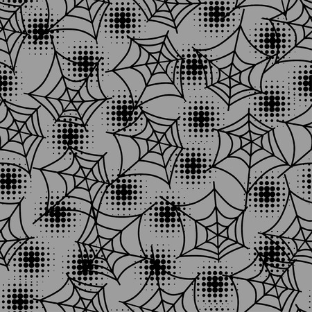 Seamless halloween pattern with spiderweb in halftones  Vector