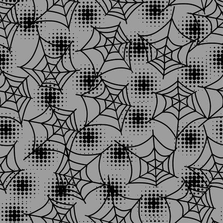 halftones: Seamless halloween pattern with spiderweb in halftones