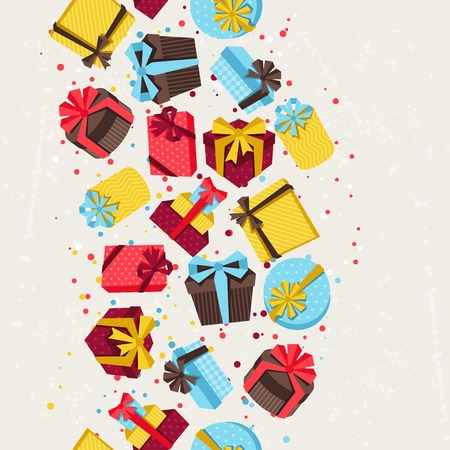 surprise box: Seamless celebration pattern with colorful gift boxes