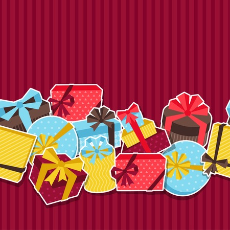 Seamless celebration pattern with sticker gift boxes