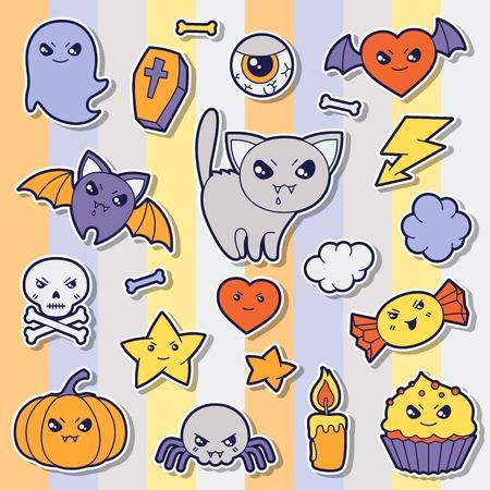 Set of halloween kawaii cute sticker doodles and objects  Vector