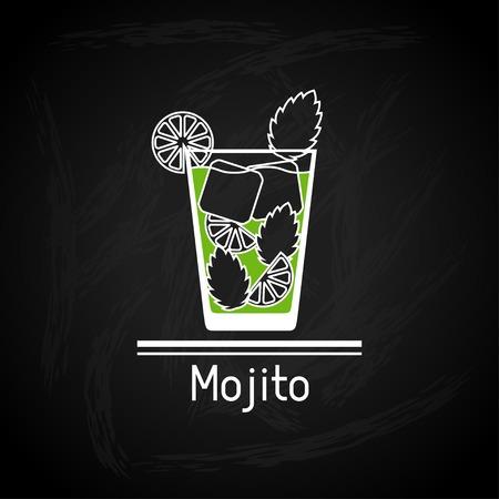 mojito: Illustration with glass of mojito for menu cover.