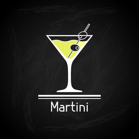 copa martini: Ilustración con un vaso de martini de la cubierta del menú Vectores