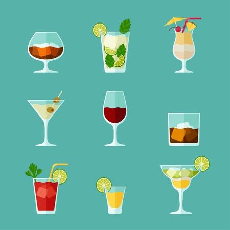 在平坦的設計風格酒精飲品和雞尾酒圖標集