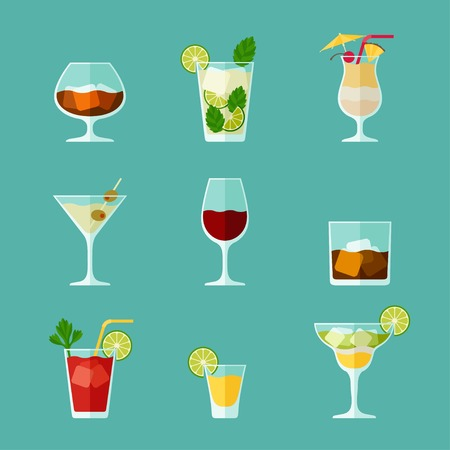 Alcohol drinks and cocktails icon set in flat design style