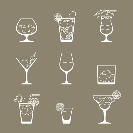 martini: Alcohol drinks and cocktails icon set in flat design style