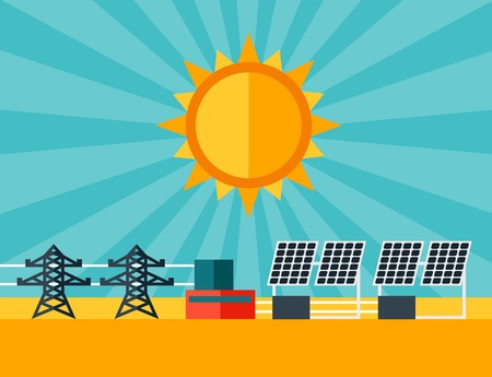 Illustration of solar energy power plant in flat style  Vector