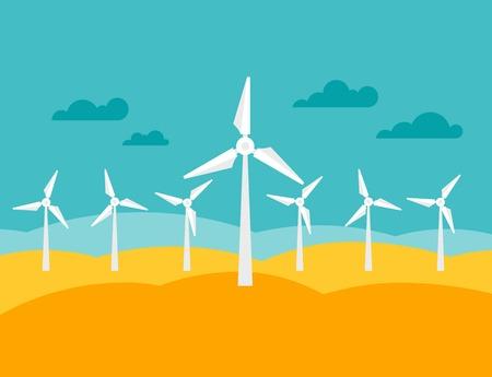 Illustratie van windenergie energiecentrale in vlakke stijl