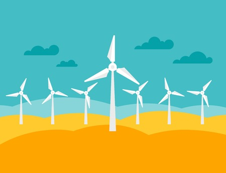 wind power plant: Illustration of wind energy power plant in flat style