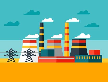energia electrica: Ilustraci�n de la planta de energ�a industrial en estilo plano
