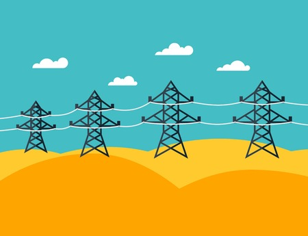 transmission line: Illustration of industrial power lines in flat style