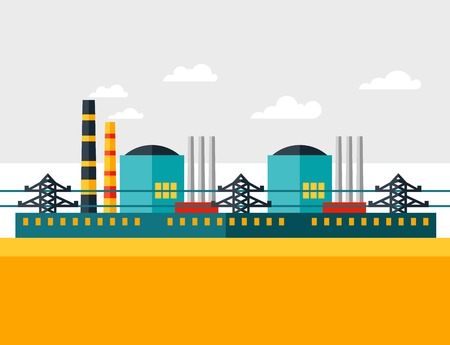 Illustration of industrial nuclear power plant in flat style  Vector