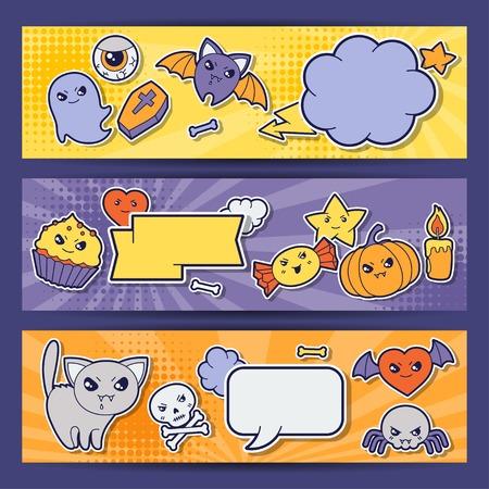 Halloween kawaii horizontal banners with cute doodles  Vector