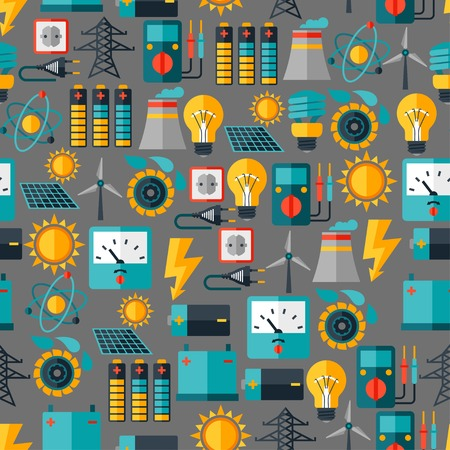 solar power station: Seamless pattern with power icons in flat design style  Illustration